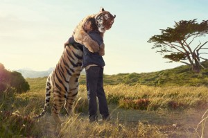 hug with tiger